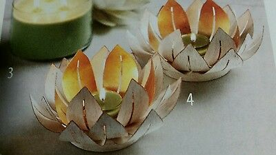 Partylite Gilded Lotus Candle Holder w/Mirror-CANDLE INCLUDED!-New