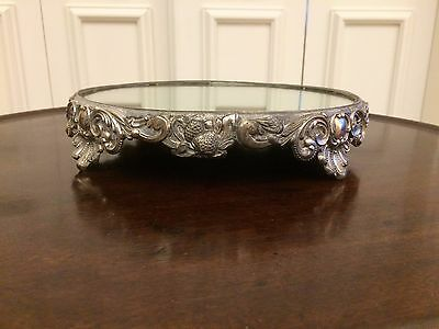 Antique Vintage Silver Mirrored Plateau Footed Ornate Stand Tray Beautiful!!