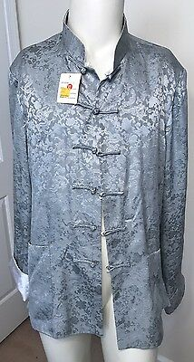 NWT Women's Jacket Size XL Asian Top Frog Closure Reversible Gray White Satin