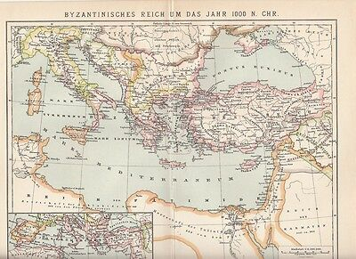 c. 1890 Byzantine East Roman Empire in 10th Century HISTORICAL  Antique Map