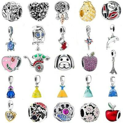 DRESS 925 European Silver Charms Bead pendant For DIY Bracelet bangle Chain