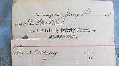 1899 Breckenridge Colorado Fall & Darnell Assayers Assay Receipt-Mining-Miners