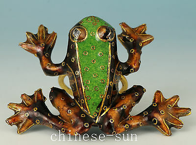 Chinese Old Cloisonne Handmade Carved Frog Statue