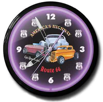 Route 66 Hot Rod Neon Clock Hand Made In The USA 20 Inch
