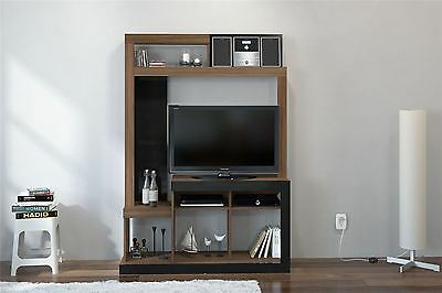 Orka Black Gloss Walnut Cupboard TV Entertainment Wall Unit Stand Cabinet