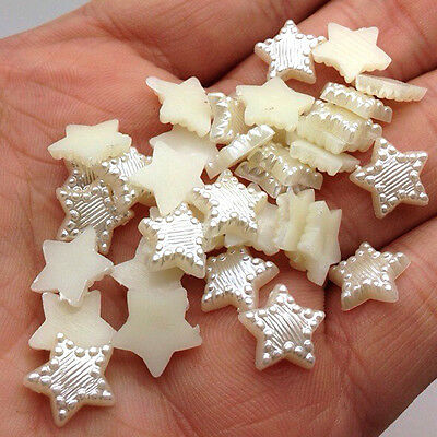 NEW DIY 100pcs 12MM Resin Beige White Star Flat back Scrapbooking Craft AHWXX