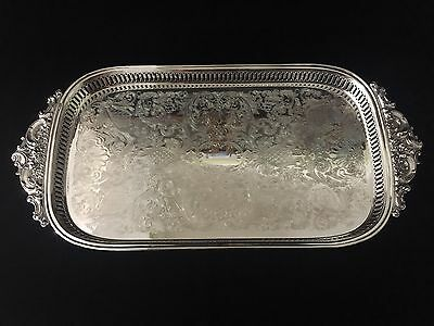 "Large Wallace Silversmiths Baroque Serving Tray #292 w/Handles & Feet, 24"" x 11"""