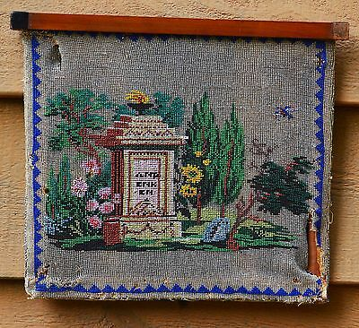 Rare Glass Beaded Antique Memorial Picture with Silk Backing; Early 1800's