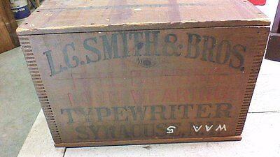 Antique Wood Box Crate Smith Bros Typewriter BOX Syracuse NY
