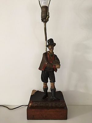 Antique French Hand Carved & Painted Wood Figure Table Lamp w/Book & Wood Base