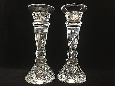 "Vintage Pair of Bohemian 24% Lead Crystal Candlesticks Holders, 9 1/2"" Tall"