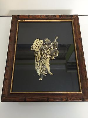 Vintage Biblical Art Brass Sculpture Moses & Ten Commandments, Wooden Frame Box