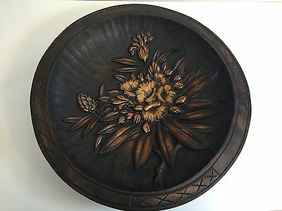 """Huge Antique Japanese Hand Carved Flower Wooden Wall Charger, Signed, 14 1/2"""" D"""