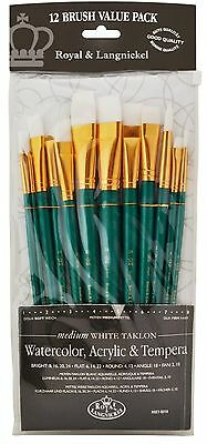 Royal Langnickel White Taklon Round Variety Brush Set - (Pack of 12) RSET-9310