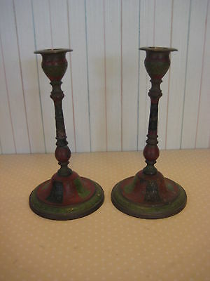 "Pair Of Vintage India Brass Hand Carved Enameled Candle Holders, 7"" T X 3 1/2"" D"