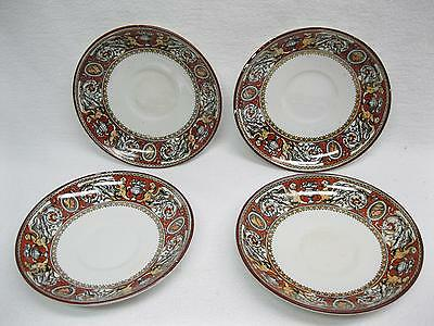 4 Small Saucers Antique Minton Florentine Pattern Red Griffins & Urns Ironstone