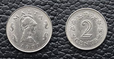 Malta 2 Cents Coin~Issued 1977~Copper Nickel 2.25g~KM# 9~XFine