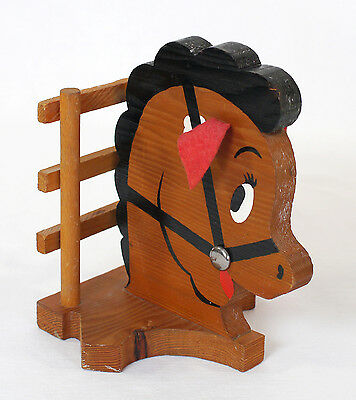 """Vintage 8"""" DIY Handmade Pony Head Wood Bookend - Hand Painted - Only One"""