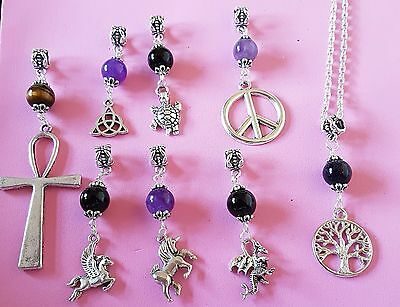 "gemstone pendant necklace 20"" silver plated chain dragon unicorn angel turtle"