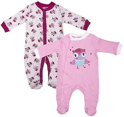 Girls Baby PACK OF 2 Cute Owl Sleepsuit Cotton Rompers Newborn to 9 Months
