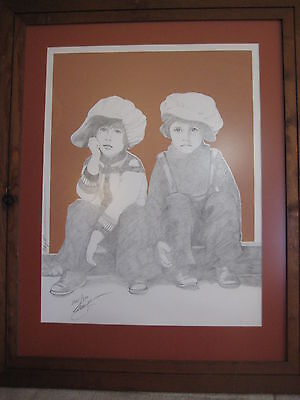 Pencil Drawing Limited Edition Lithograph Sitting Girl & Boy, 261/300 With Frame