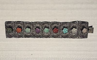 Antique Chinese Silver Bracelet with Carved Jade Stones