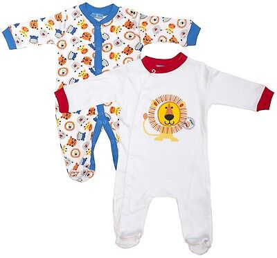 Boys Baby PACK OF 2 Lion Roar Sleepsuit Cotton Rompers Newborn to 9 Months