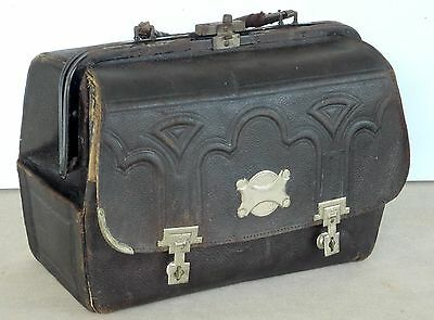 Circa 1900 Antique Small Doctor Bag Fancy Embossed, With  Nickel Hardware