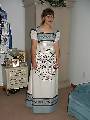 Regency Dress Embroidered Gown   Jane Austen sz 8-10-12