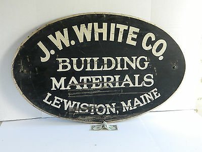 Antique Hand Painted Trade Sign Building Materials Lewiston Maine Old Paint aafa