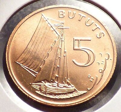 Gambia 5 Bututs 1971, XF Coin w/ Sailing Vessel, Boat, 1 Year Type, KM 9