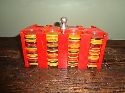 Red catalin poker chip holder no damage with 200 catalin chips!.