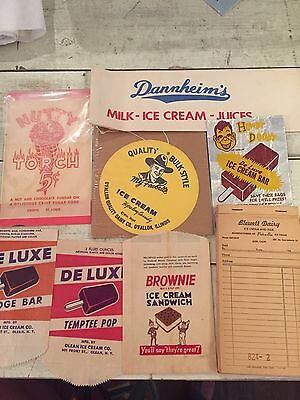Lot Of Vintage Ice Cream Advertising Including Original Order Pad And Cap