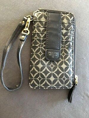 FOSSIL Julia Zip Wristlet Black Leather Credit Card Wallet coin purse