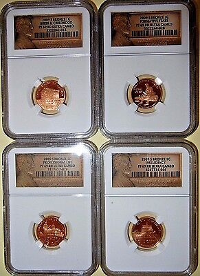 All Four 2009-S Lincoln Cents NGC Proof PF69RDUC
