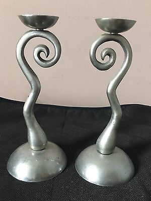 Pair Of Vintage White Metal Candlesticks 9 Inches 1990's