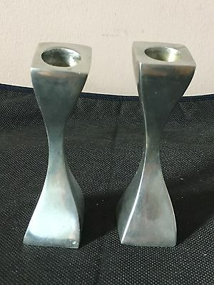 Pair Of Vintage White Metal Candlesticks 5 Inches 1970's