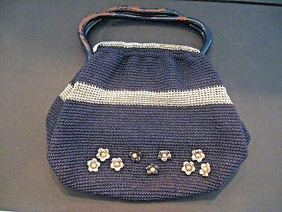 Antique Vintage 1940s WWII era handbag purse crocheted flower old handbag