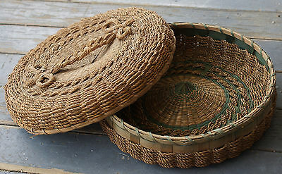 Antique Intricate Grass Wicker Hand Woven and Painted Sewing Basket w/Lid
