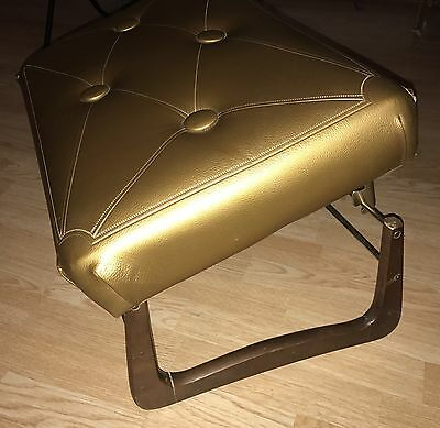 Vintage Mid Century Pearl Wick Foot Stool Ottoman 1960's Hollywood Regency Gold