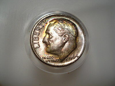 **  1964-D  Roosevelt Dime  **   Nice Toned Coin  #1  !!!!!!!!!!!!!!!!!!!!!!!!!!