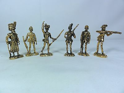 Lot Of Six Scruby Miniature Pewter Soldier Figurines In Gold Tone