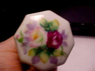 Antique Could Be English ? Floral Hand Painted Porcelain Door Knobs 8 Sided