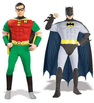 Batman/Robin Muscle Fancy Dress Mens Superhero Adult Costume - FAST + FREE POST