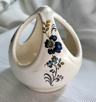 VINTAGE ENGLISH PURBECK CERAMICS small VASE with beautiful blue flower pattern