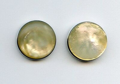 2 BUTTONS- MOTHER of PEARL DISKS set in STERLING SILVER--BM--1 CONCAVE--1 CONVEX