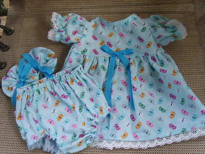 "16"" cabbage patch doll clothes butterflies all over dress panty hair bows"