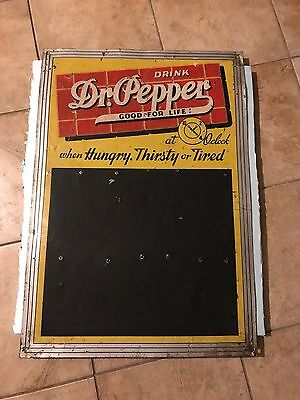 1930s Vintage Original DR. PEPPER GOOD FOR LIFE Old Tin Menu Board Sign