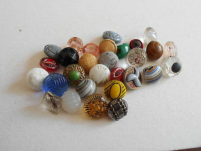 Antique/vintage 30 Diminutive And Small Glass Buttons #53