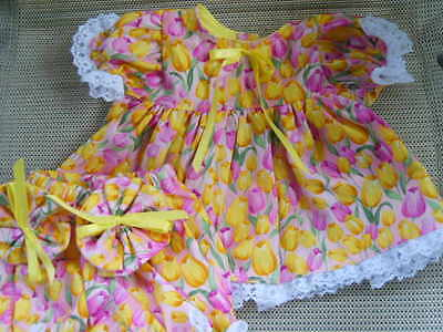 "16"" cabbage patch doll clothes pink & yellow tulips dress bloomers hair bows"